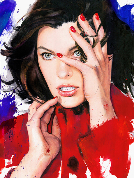 A watercolor project: Milla Jovovich by Marcelona Gutiérrez | itfashion.com