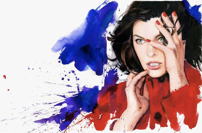 A watercolor project: Milla Jovovich by Marcelona Gutièrrez, Marella FW14 | itfashion.com