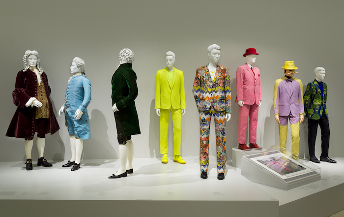 Installation photograph, Reigning Men: Fashion in Menswear, 1715–2015Los Angeles County Museum of Art, © Museum Associates/LACMA