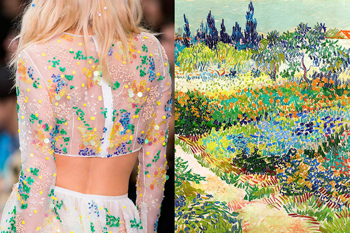 Details-at-Ashish-Spring-2016--Garden-at-Arles-by-Vincent-Van-Gogh,-1888