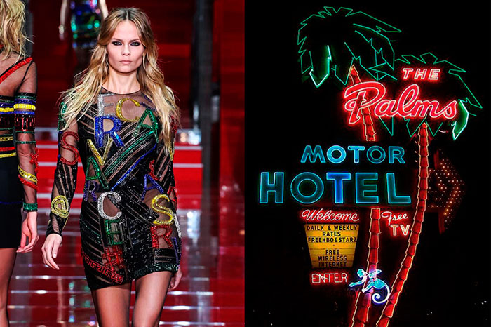 Versace-Fall-2015--Neon-light-signs-of-The-Palms-Motel-in-Portland,-Oregon