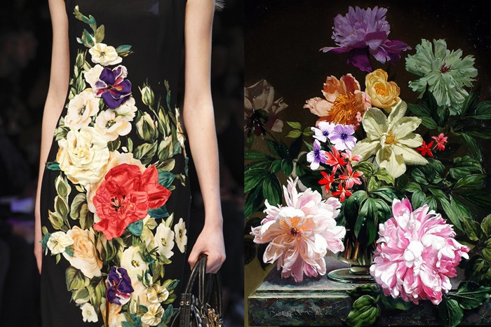 Details at Dolce & Gabbana Fall 2016 _ Still Life with Flowers by Bennett Oates, oil on board