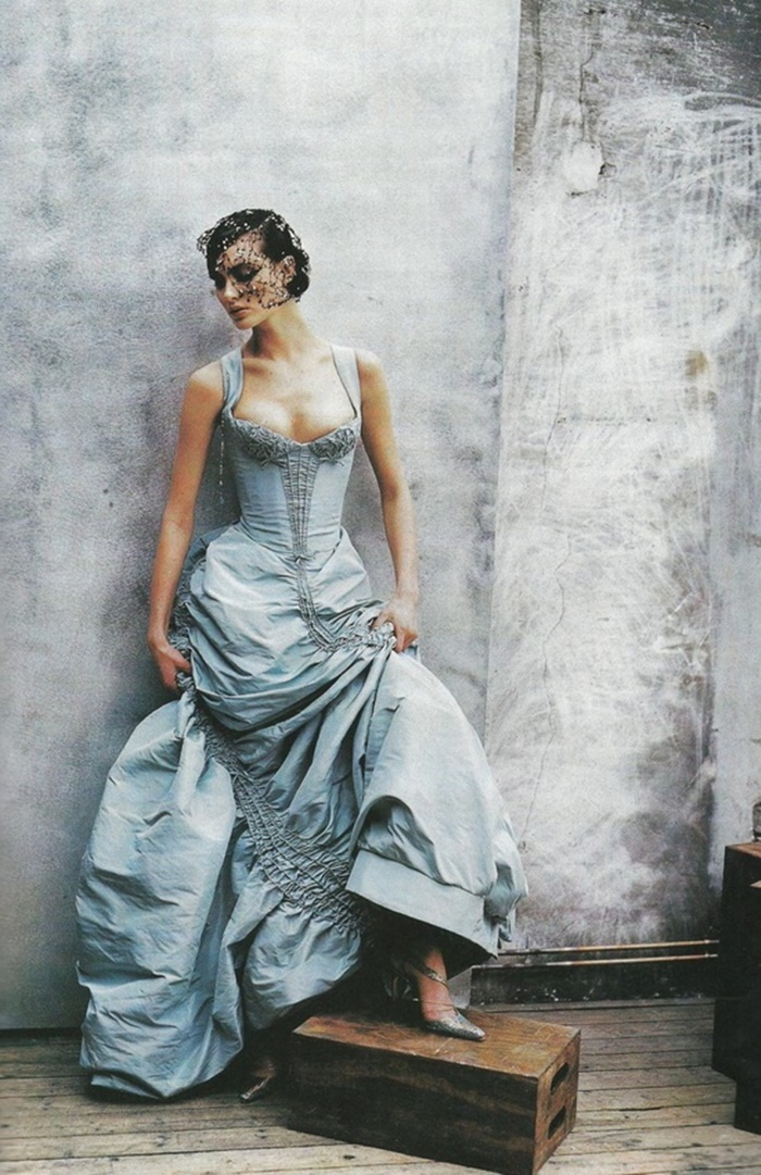 Shalom Harlow in Christian Lacroix Dress, photographed by Peter Lindbergh for Vogue, 1997