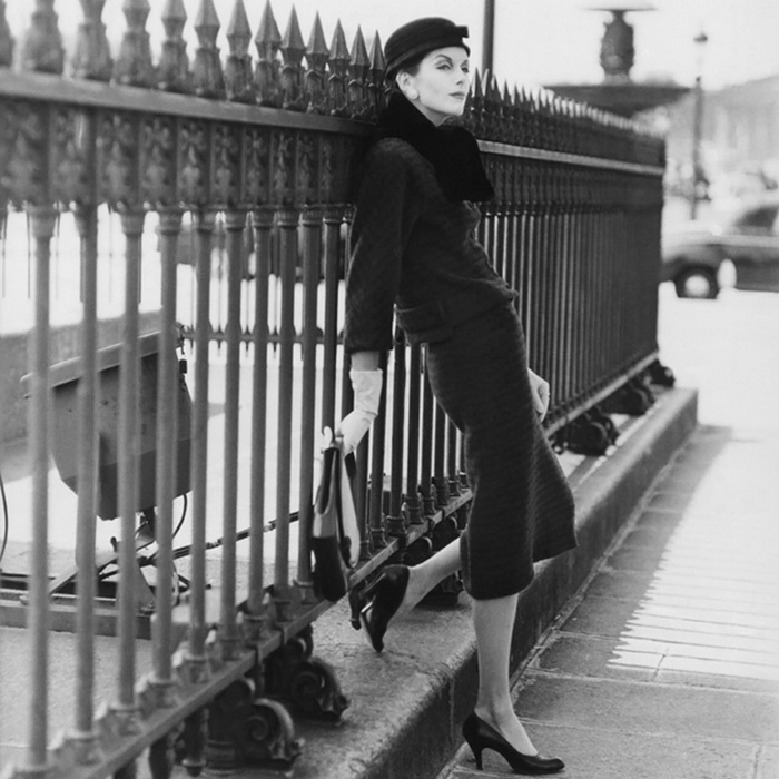 Anne-Saint Marie in Cristobal Balenciaga Suit and Skirt, photographed by Henry Clarke, 1955