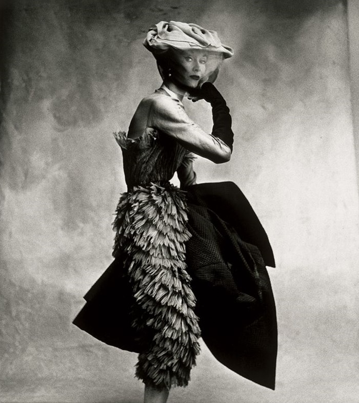 Dovima in Cristobal Balenciaga Dress, photographed by Irving Penn for Vogue, 1950