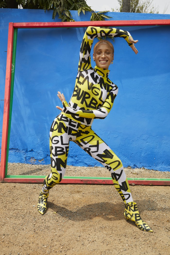 Adwoa Aboah in a graffiti-print bodysuit and leggings c Courtesy of Burberry_Juergen Teller